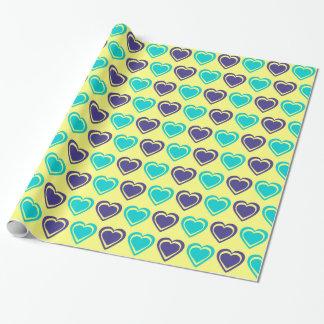 Corações azuis e amarelos papel de presente