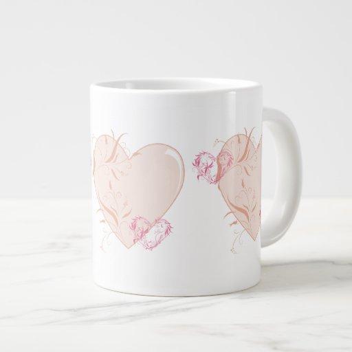 Corações bonito caneca de café muito grande