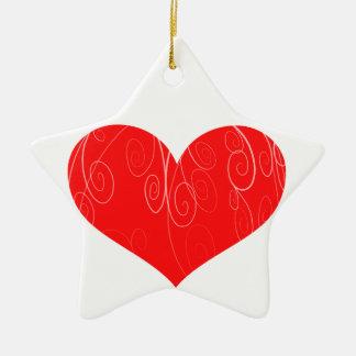 Corações bonito ornamento de cerâmica estrela
