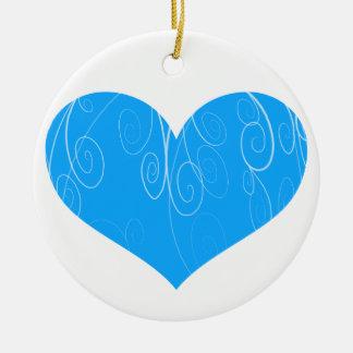 Corações bonito ornamento de cerâmica redondo