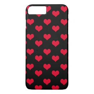Corações bonitos vermelhos e teste padrão preto capa iPhone 8 plus/7 plus