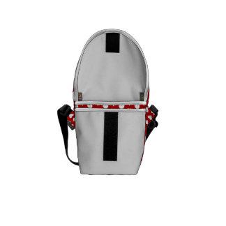 Corações brancos no saco vermelho do Mini-Mensagei Bolsas Mensageiro