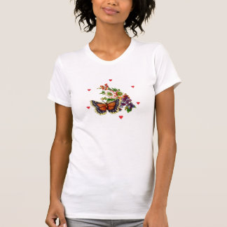 Corações/buterfly/camisa da flor t-shirt