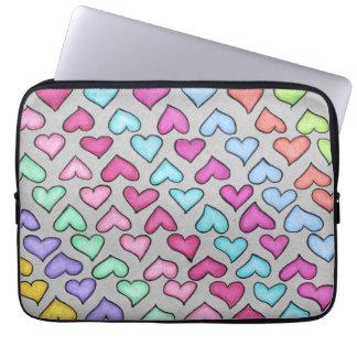 Corações coloridos bonitos bolsa e capa de notebook