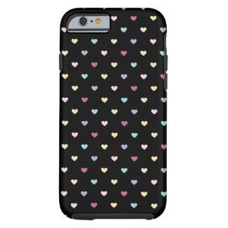 Corações coloridos no preto capa tough para iPhone 6