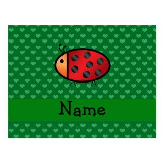 Corações conhecidos personalizados do verde do joa cartões postais