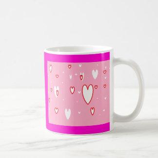 corações cor-de-rosa caneca