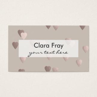 corações cor-de-rosa claros simples do amor da cartão de visitas