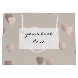 corações cor-de-rosa claros simples do amor da sacola para presentes grande