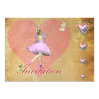 Corações cor-de-rosa da bailarina e do amor convites personalizado