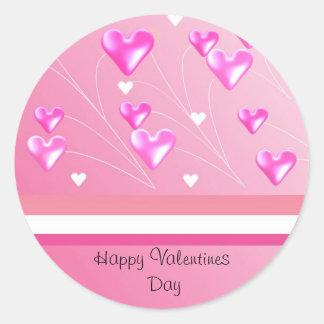 Corações cor-de-rosa de flutuação dos namorados adesivo