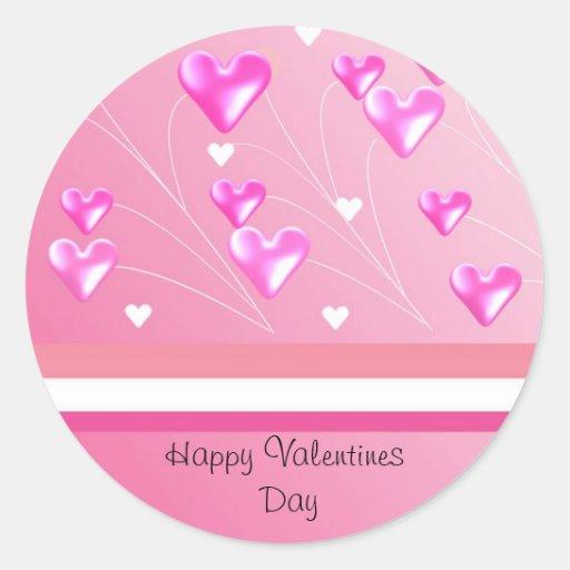 Corações cor-de-rosa de flutuação dos namorados adesivos redondos