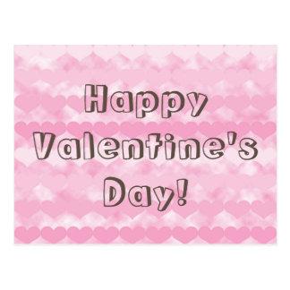 Corações cor-de-rosa dos namorados do feliz dia cartão postal