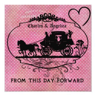 Corações cor-de-rosa este dia Invitet Wedding Convites Personalizados