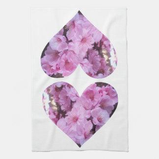 Corações cor-de-rosa gêmeos da flor toalhas de mão