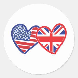 Corações da bandeira americana/bandeira de Union Adesivo