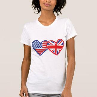 Corações da bandeira americana/bandeira de Union Camiseta