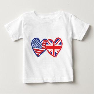 Corações da bandeira americana/bandeira de Union Camiseta Para Bebê