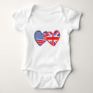 Corações da bandeira americana/bandeira de Union Camisetas