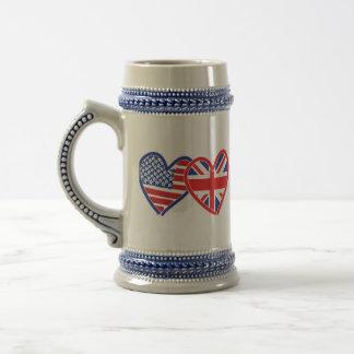Corações da bandeira americana/bandeira de Union Caneca De Cerveja
