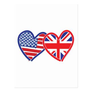 Corações da bandeira americana/bandeira de Union Cartão Postal