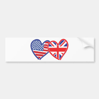 Corações da bandeira americana/bandeira de Union J Adesivo Para Carro