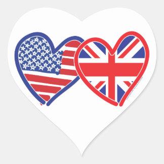 Corações da bandeira americana/bandeira de Union J Adesivo De Coração