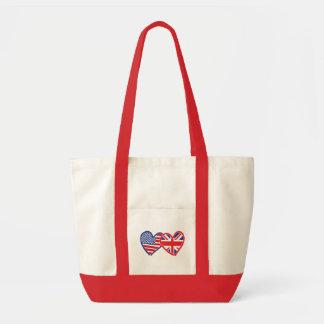 Corações da bandeira americana/bandeira de Union J Bolsa Tote