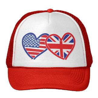 Corações da bandeira americana/bandeira de Union J Boné