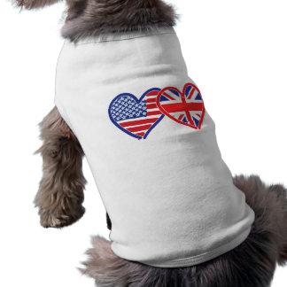 Corações da bandeira americana/bandeira de Union J Camisa Sem Mangas Para Cachorro