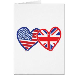 Corações da bandeira americana/bandeira de Union J Cartão Comemorativo
