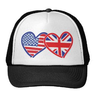 Corações da bandeira americana/bandeira de Union J Bones