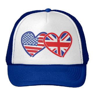 Corações da bandeira americana/bandeira de Union J Bonés