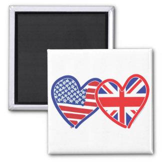 Corações da bandeira americana/bandeira de Union J Ímã Quadrado