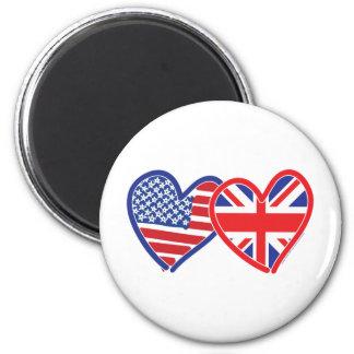 Corações da bandeira americana/bandeira de Union J Ímã Redondo 5.08cm