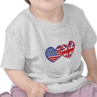 Corações da bandeira americana/bandeira de Union J T-shirts