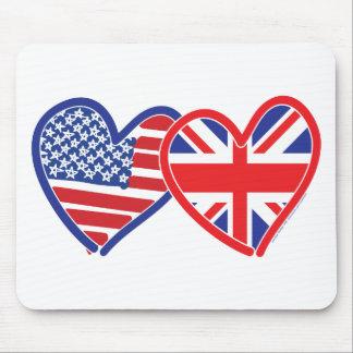 Corações da bandeira americana/bandeira de Union J Mousepad