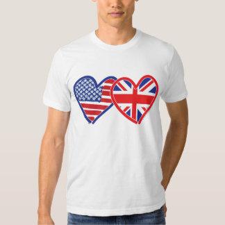 Corações da bandeira americana/bandeira de Union T-shirt
