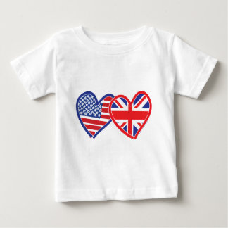 Corações da bandeira americana/bandeira de Union T-shirts