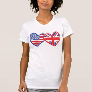Corações da bandeira americana/bandeira de Union Tshirt