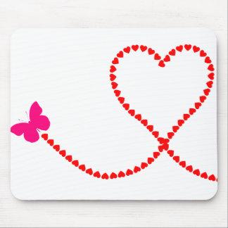 corações da borboleta mouse pad