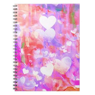 Corações da cor de água cadernos
