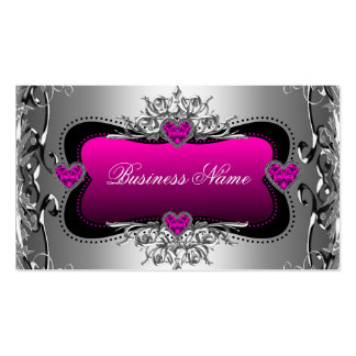 Corações da imagem do diamante da prata do rosa qu cartão de visita