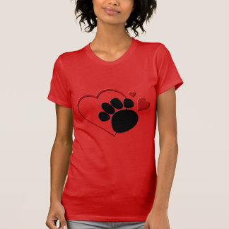 Corações da pata do cão eu amo meu jérsei fino tshirts