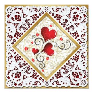 Corações, damasco do ouro & cartão vermelhos dos convite quadrado 13.35 x 13.35cm