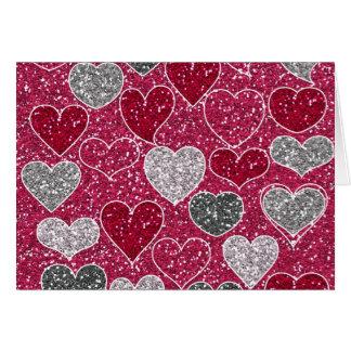 Corações de Bling do amor do brilho do feliz dia Cartão