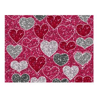 Corações de Bling do amor do brilho do feliz dia Cartão Postal
