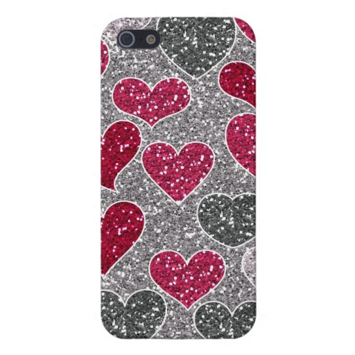 Corações de Bling do amor do brilho do feliz dia d iPhone 5 Capa
