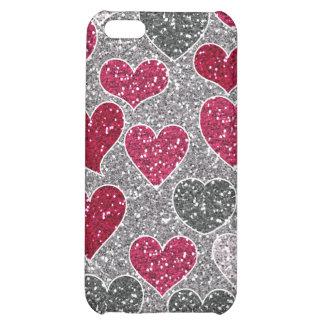 Corações de Bling do amor do brilho do feliz dia d Capa Para iPhone5C