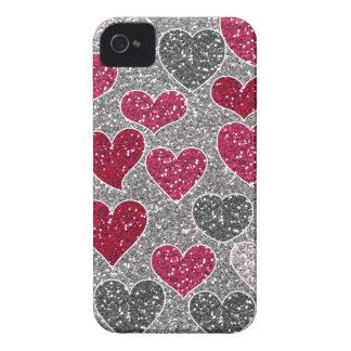 Corações de Bling do amor do brilho do feliz dia d Capas De iPhone 4 Case-Mate